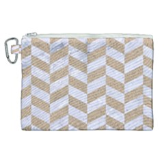 Chevron1 White Marble & Sand Canvas Cosmetic Bag (xl) by trendistuff