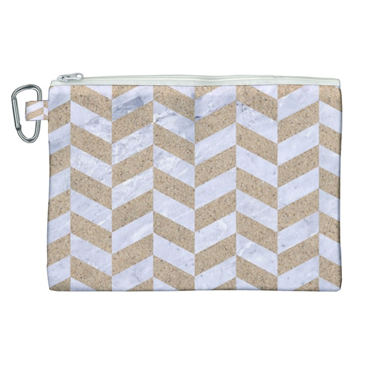 CHEVRON1 WHITE MARBLE & SAND Canvas Cosmetic Bag (XL)