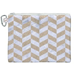 Chevron1 White Marble & Sand Canvas Cosmetic Bag (xxl)