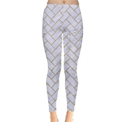 BRICK2 WHITE MARBLE & SAND (R) Leggings