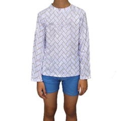 BRICK2 WHITE MARBLE & SAND (R) Kids  Long Sleeve Swimwear