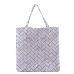 BRICK2 WHITE MARBLE & SAND (R) Grocery Tote Bag