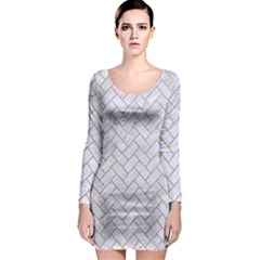 BRICK2 WHITE MARBLE & SAND (R) Long Sleeve Bodycon Dress