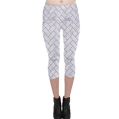 BRICK2 WHITE MARBLE & SAND (R) Capri Leggings