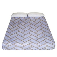 Brick2 White Marble & Sand (r) Fitted Sheet (queen Size)