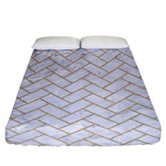 Brick2 White Marble & Sand (r) Fitted Sheet (king Size)