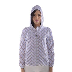 BRICK2 WHITE MARBLE & SAND (R) Hooded Wind Breaker (Women)