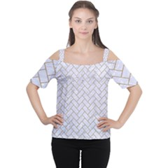BRICK2 WHITE MARBLE & SAND (R) Cutout Shoulder Tee