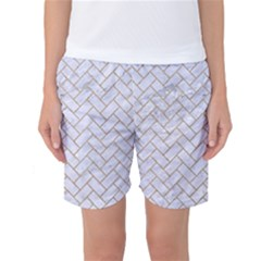 BRICK2 WHITE MARBLE & SAND (R) Women s Basketball Shorts