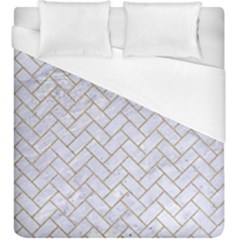 BRICK2 WHITE MARBLE & SAND (R) Duvet Cover (King Size)