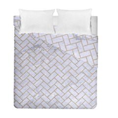 BRICK2 WHITE MARBLE & SAND (R) Duvet Cover Double Side (Full/ Double Size)