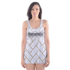 BRICK2 WHITE MARBLE & SAND (R) Skater Dress Swimsuit
