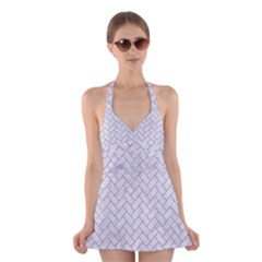 BRICK2 WHITE MARBLE & SAND (R) Halter Dress Swimsuit