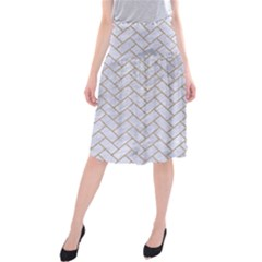 BRICK2 WHITE MARBLE & SAND (R) Midi Beach Skirt