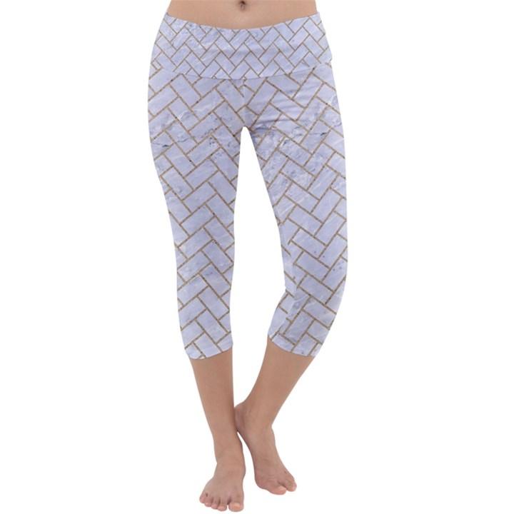 BRICK2 WHITE MARBLE & SAND (R) Capri Yoga Leggings
