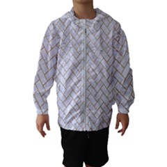 BRICK2 WHITE MARBLE & SAND (R) Hooded Wind Breaker (Kids)