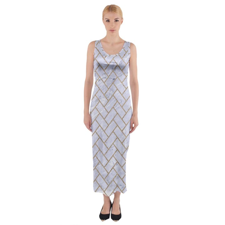 BRICK2 WHITE MARBLE & SAND (R) Fitted Maxi Dress