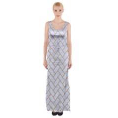 BRICK2 WHITE MARBLE & SAND (R) Maxi Thigh Split Dress