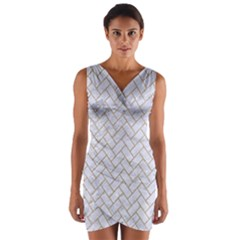 BRICK2 WHITE MARBLE & SAND (R) Wrap Front Bodycon Dress