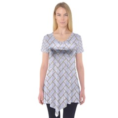 BRICK2 WHITE MARBLE & SAND (R) Short Sleeve Tunic