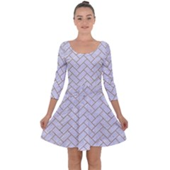 Brick2 White Marble & Sand (r) Quarter Sleeve Skater Dress