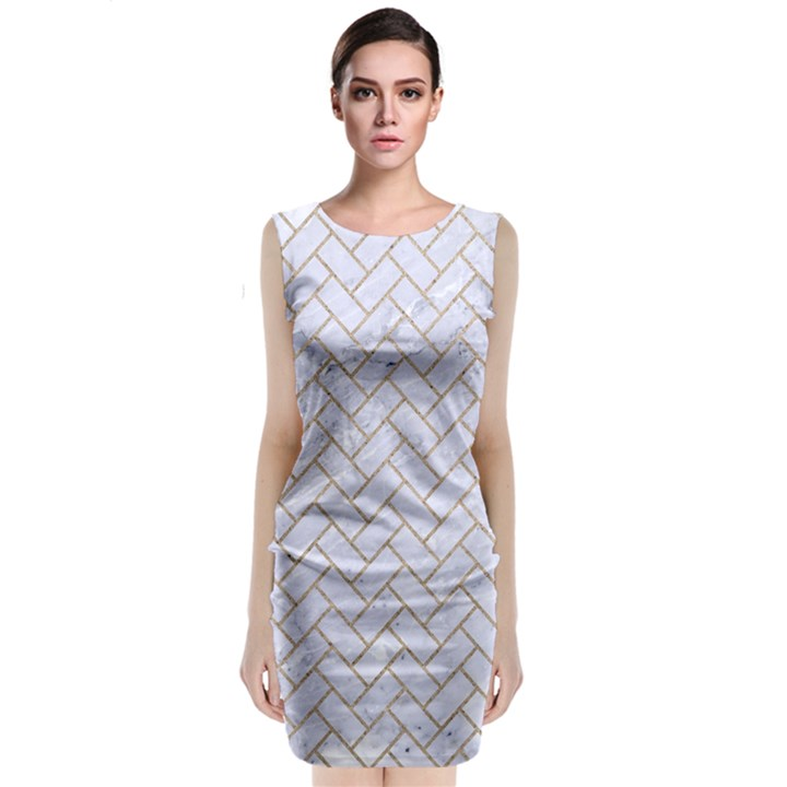 BRICK2 WHITE MARBLE & SAND (R) Classic Sleeveless Midi Dress