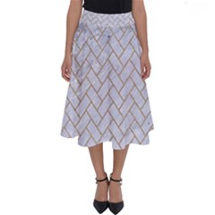 BRICK2 WHITE MARBLE & SAND (R) Perfect Length Midi Skirt