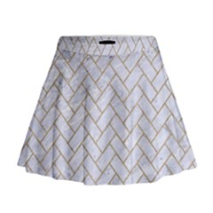 BRICK2 WHITE MARBLE & SAND (R) Mini Flare Skirt