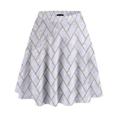 BRICK2 WHITE MARBLE & SAND (R) High Waist Skirt