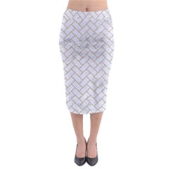BRICK2 WHITE MARBLE & SAND (R) Midi Pencil Skirt