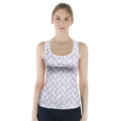 BRICK2 WHITE MARBLE & SAND (R) Racer Back Sports Top