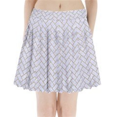 BRICK2 WHITE MARBLE & SAND (R) Pleated Mini Skirt