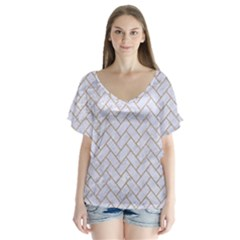 BRICK2 WHITE MARBLE & SAND (R) V-Neck Flutter Sleeve Top