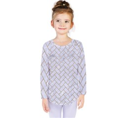 BRICK2 WHITE MARBLE & SAND (R) Kids  Long Sleeve Tee