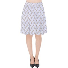 Brick2 White Marble & Sand (r) Velvet High Waist Skirt
