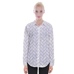 BRICK2 WHITE MARBLE & SAND (R) Womens Long Sleeve Shirt