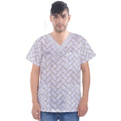BRICK2 WHITE MARBLE & SAND (R) Men s V-Neck Scrub Top