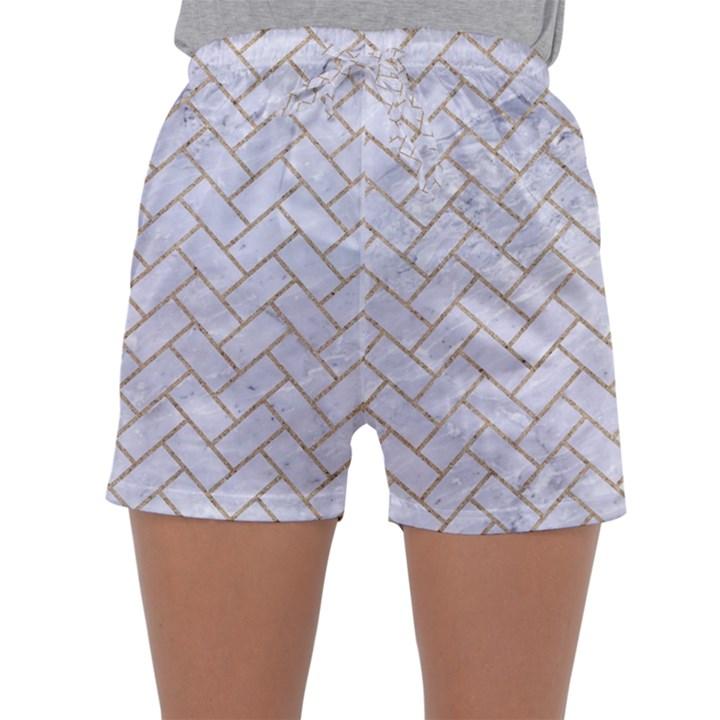 BRICK2 WHITE MARBLE & SAND (R) Sleepwear Shorts