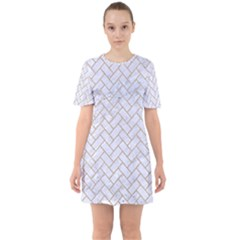 BRICK2 WHITE MARBLE & SAND (R) Sixties Short Sleeve Mini Dress