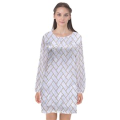 BRICK2 WHITE MARBLE & SAND (R) Long Sleeve Chiffon Shift Dress