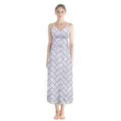 BRICK2 WHITE MARBLE & SAND (R) Button Up Chiffon Maxi Dress