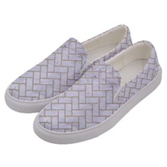 BRICK2 WHITE MARBLE & SAND (R) Men s Canvas Slip Ons