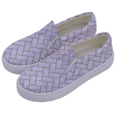 BRICK2 WHITE MARBLE & SAND (R) Kids  Canvas Slip Ons