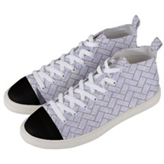BRICK2 WHITE MARBLE & SAND (R) Men s Mid-Top Canvas Sneakers