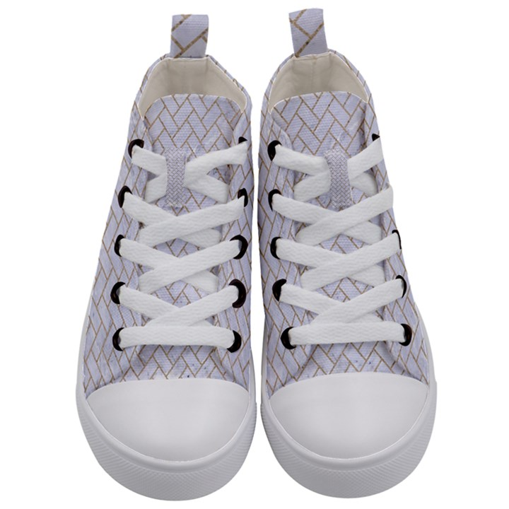 BRICK2 WHITE MARBLE & SAND (R) Kid s Mid-Top Canvas Sneakers