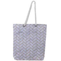 BRICK2 WHITE MARBLE & SAND (R) Full Print Rope Handle Tote (Large)