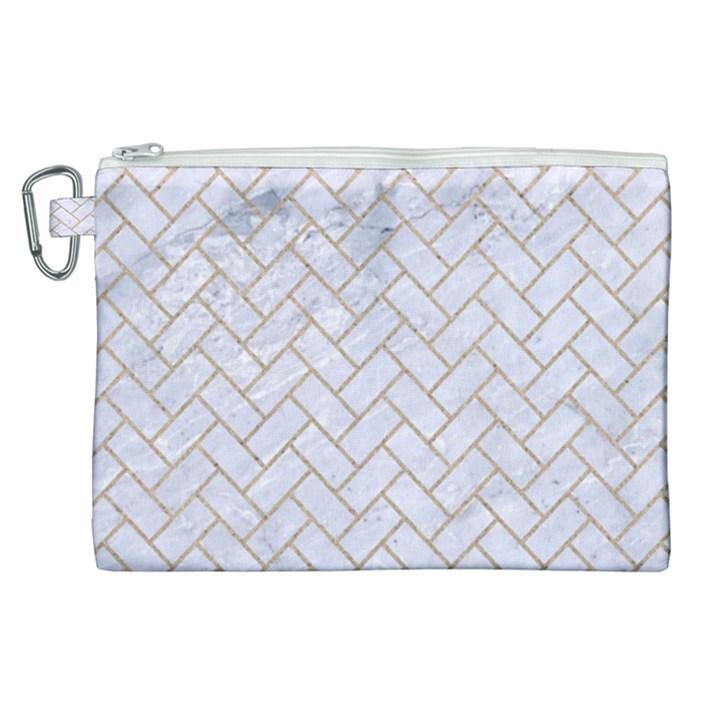 BRICK2 WHITE MARBLE & SAND (R) Canvas Cosmetic Bag (XL)