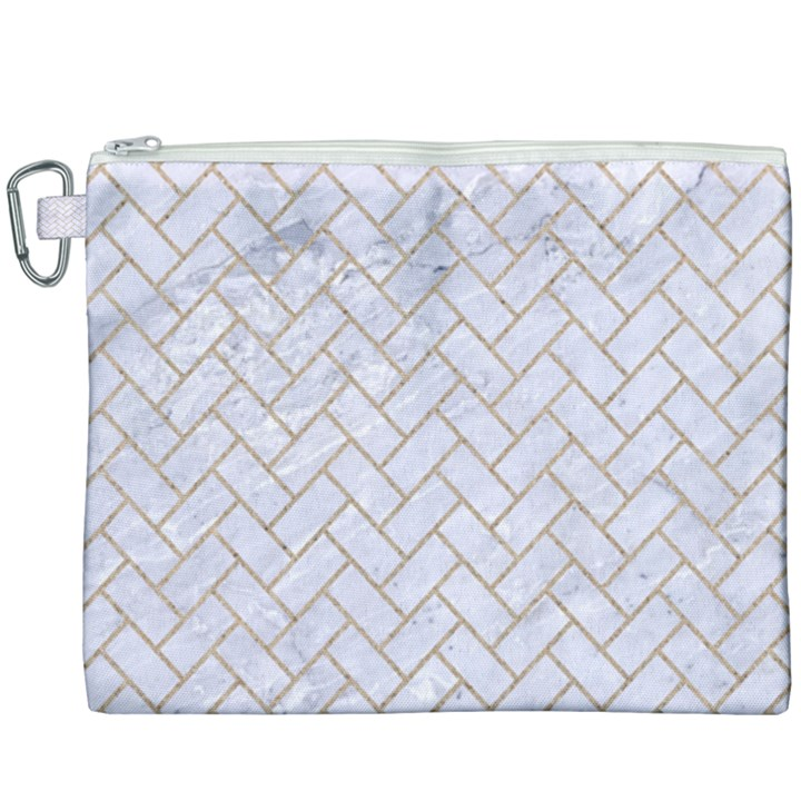 BRICK2 WHITE MARBLE & SAND (R) Canvas Cosmetic Bag (XXXL)