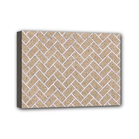 Brick2 White Marble & Sand Mini Canvas 7  X 5