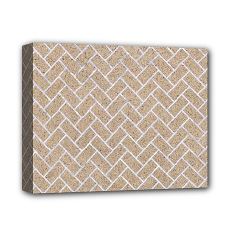 BRICK2 WHITE MARBLE & SAND Deluxe Canvas 14  x 11